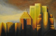 Sunset on the Montreal Skyline, Oil on canvas, huile sur toile, ©2009 by Duane Gordon